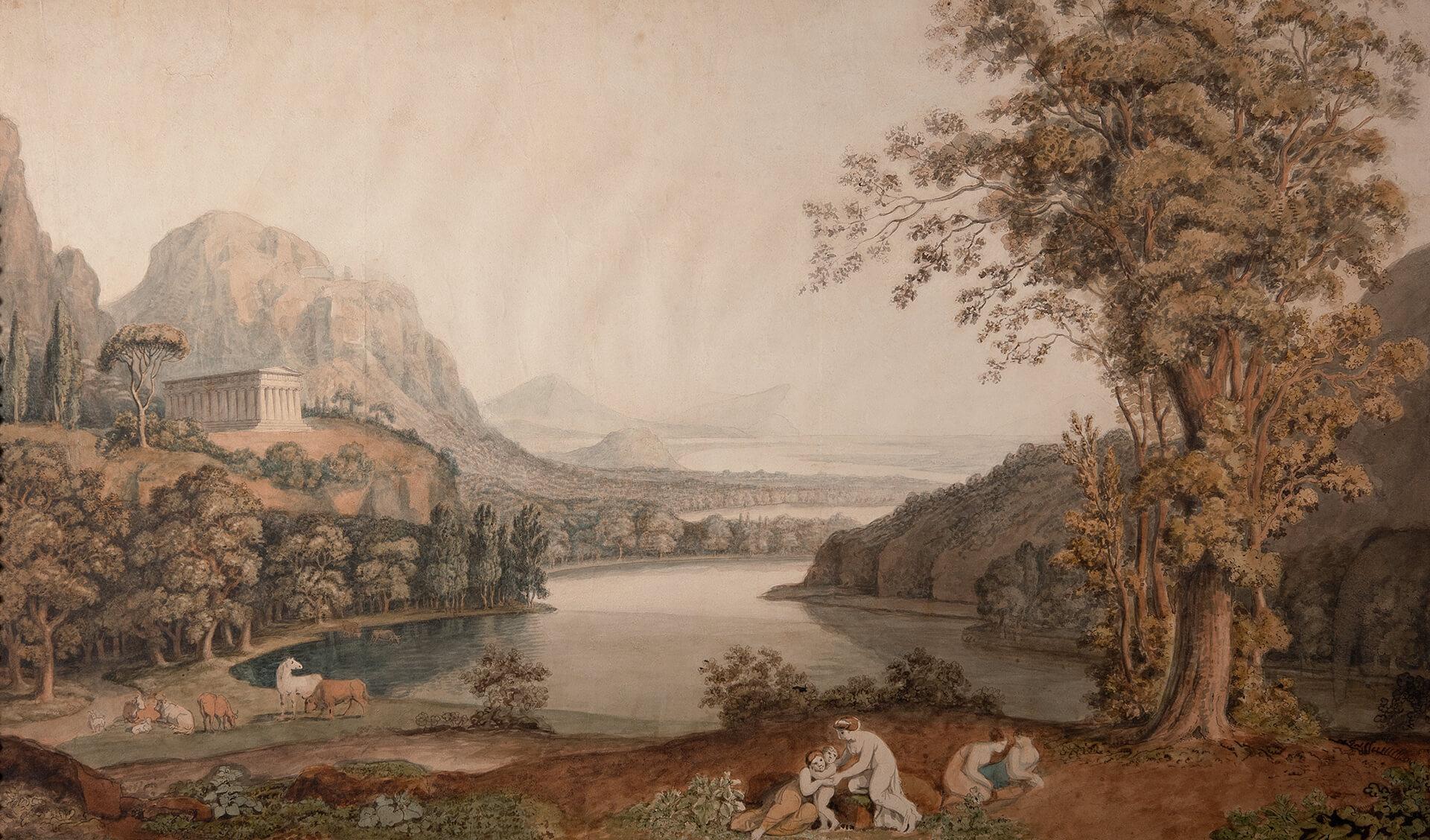 J. H. W. Tischbein, Paesaggio ideale con tempio. 1786/88