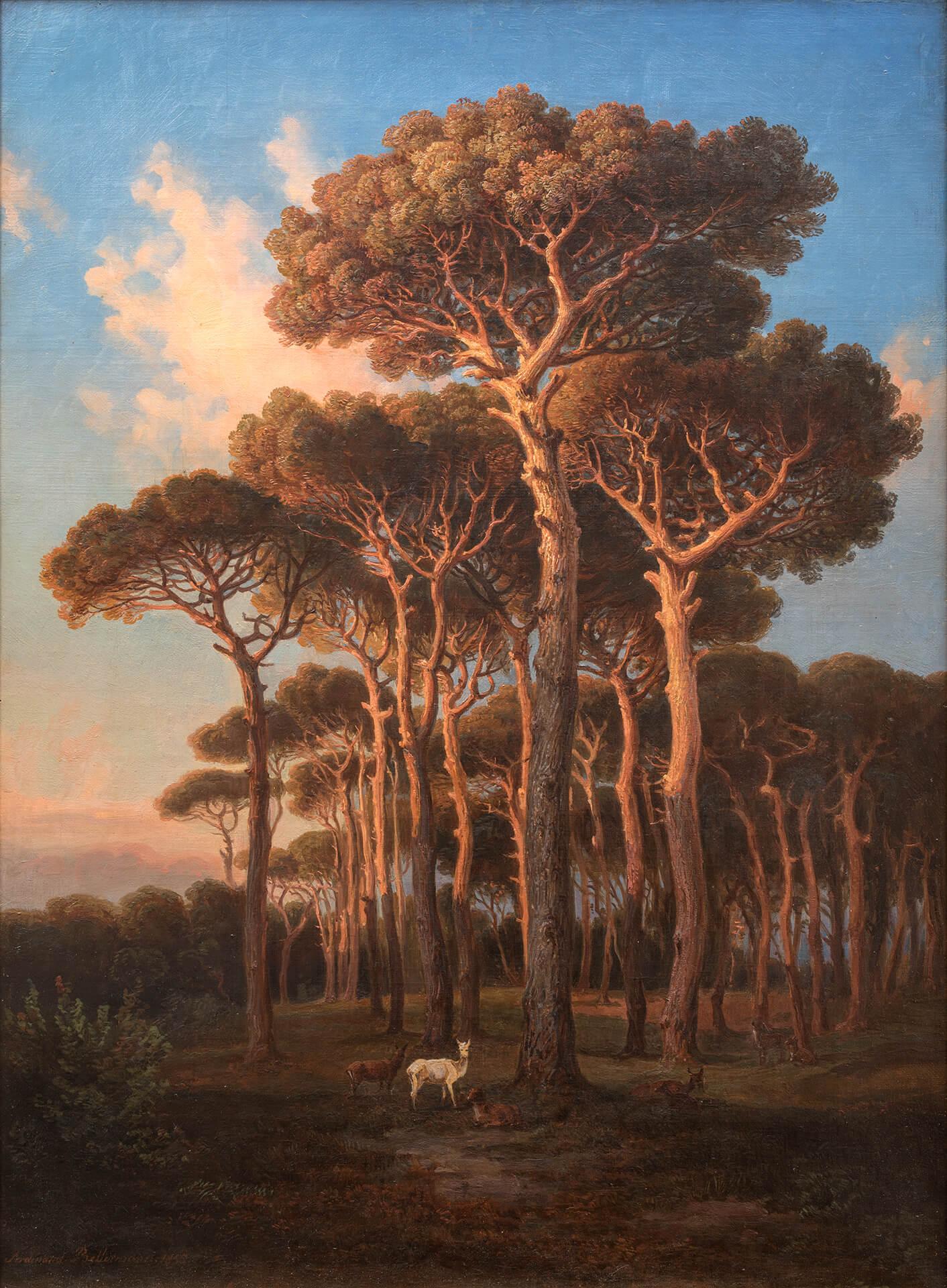 F. K. Bellermann, Sera sotto i pini (nella Villa Doria Pamphilj a Roma). 1855